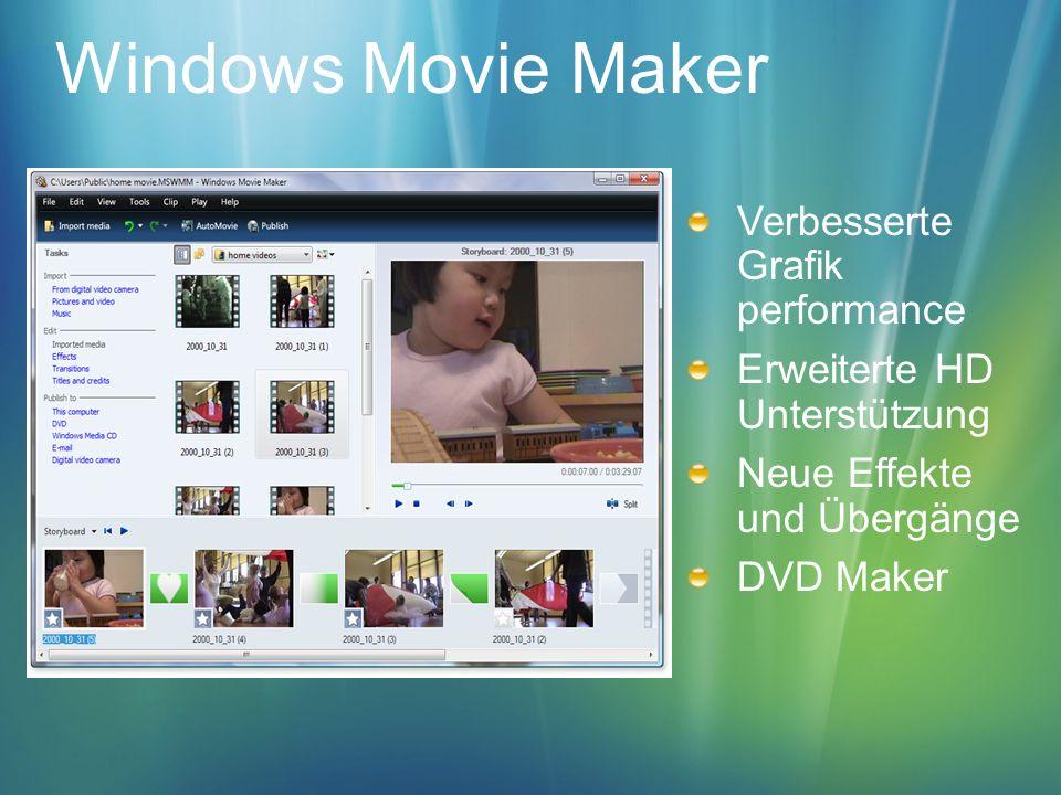 Windows Movie Maker Verbesserte Grafik performance Erweiterte HD Unterstützung Neue Effekte und Übergänge DVD Maker
