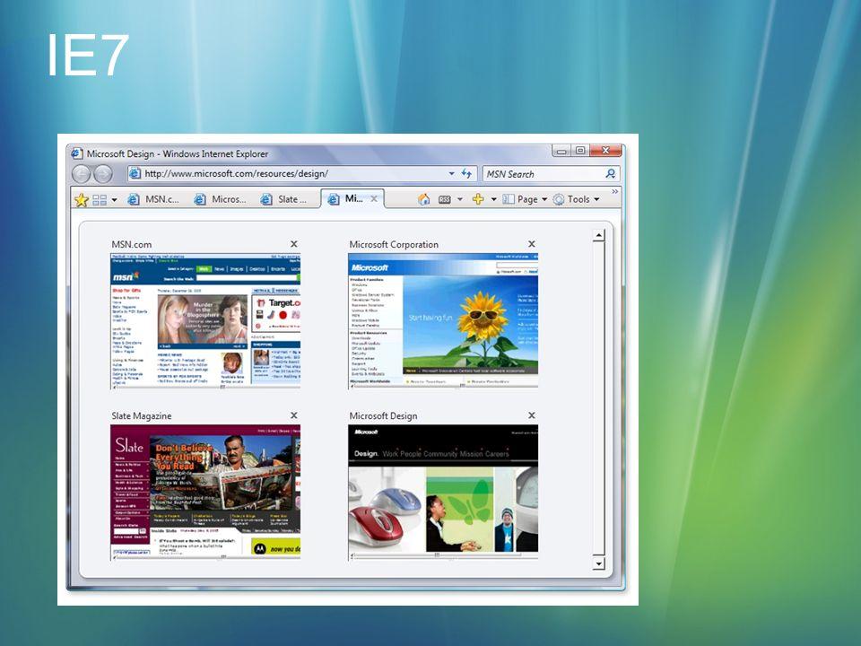 Internet Explorer 7 mit Phishing Filter Windows Defender Sicherheit Benutzerkontenschutz (UAC) Windows Sicherheitscenter Windows Firewall Automatic Updates Windows Defender Internet Explorer 7 mit Phishing filter und ActiveX Opt-in