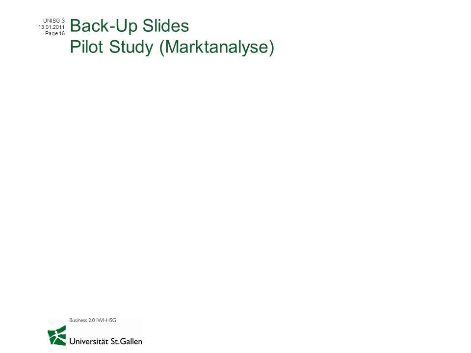 UNISG.3 13.01.2011 Page 16 Back-Up Slides Pilot Study (Marktanalyse)
