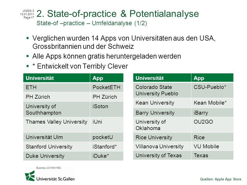 UNISG.3 13.01.2011 Page 17 Verglichen wurden 14 Apps von Universitäten aus den USA, Grossbritannien und der Schweiz Alle Apps können gratis herunterge