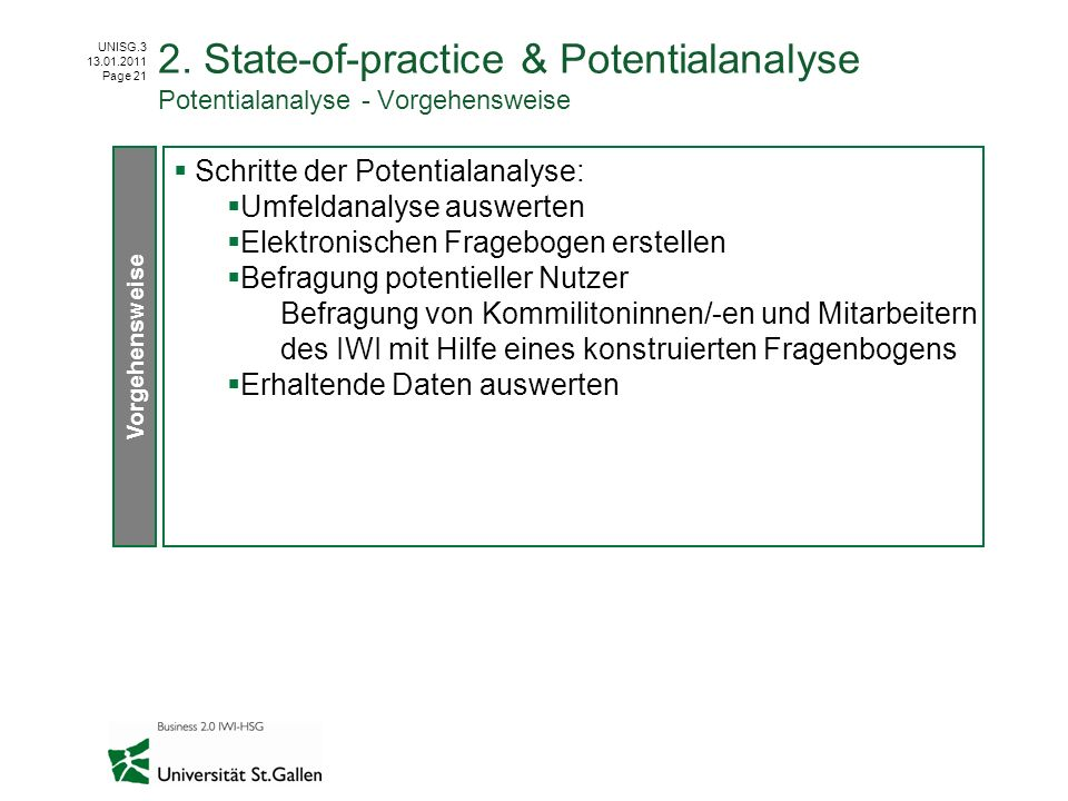 UNISG.3 13.01.2011 Page 21 2. State-of-practice & Potentialanalyse Potentialanalyse - Vorgehensweise Schritte der Potentialanalyse: Umfeldanalyse ausw