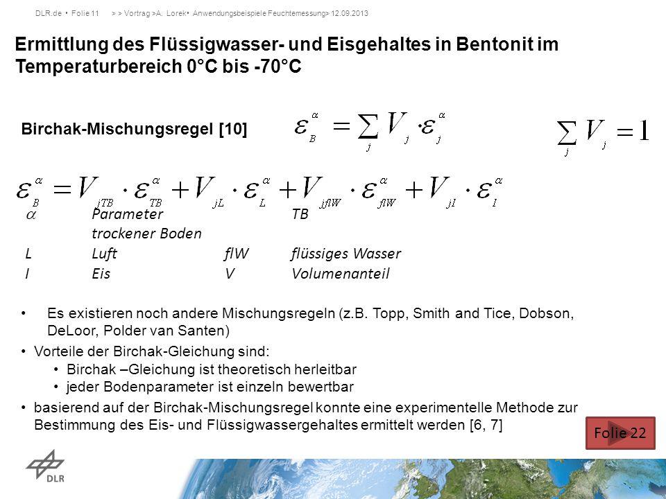DLR.de Folie 11> > Vortrag >A. Lorek Anwendungsbeispiele Feuchtemessung> 12.09.2013 Ermittlung des Flüssigwasser- und Eisgehaltes in Bentonit im Tempe