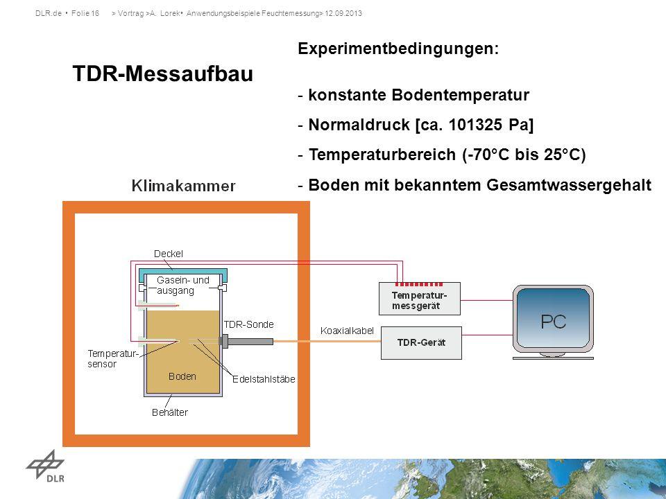 DLR.de Folie 16> Vortrag >A. Lorek Anwendungsbeispiele Feuchtemessung> 12.09.2013 TDR-Messaufbau Experimentbedingungen: - konstante Bodentemperatur -
