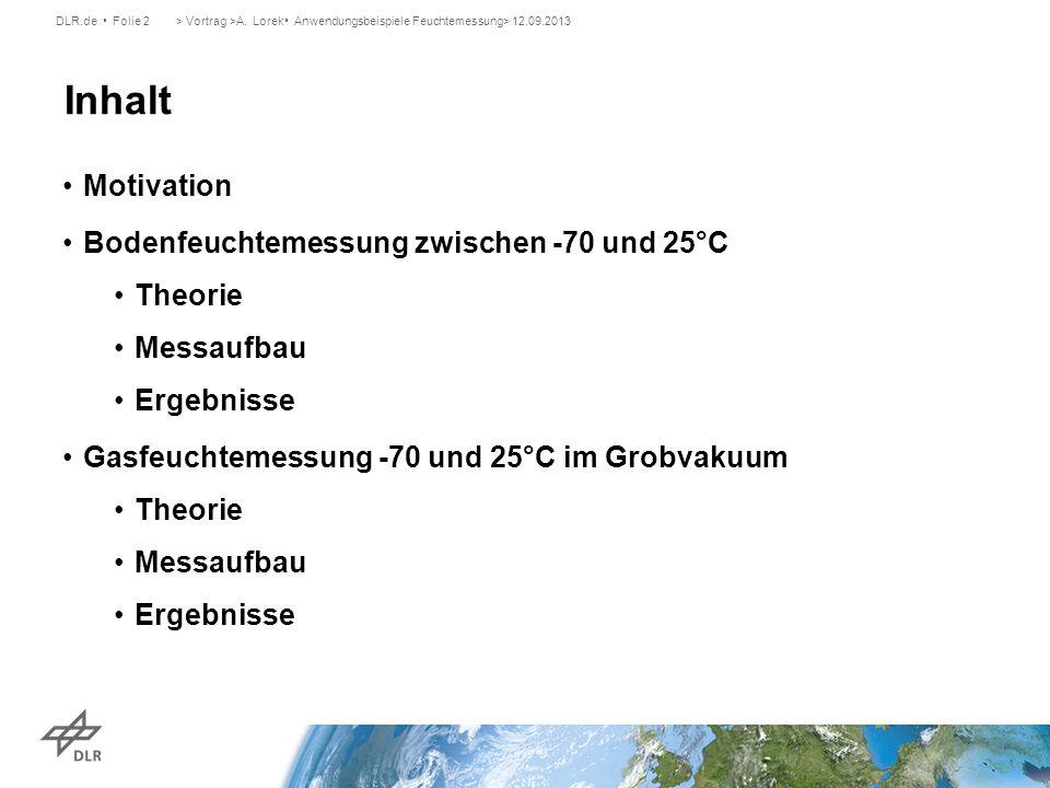 Motivation Bodenfeuchtemessung zwischen -70 und 25°C Theorie Messaufbau Ergebnisse Gasfeuchtemessung -70 und 25°C im Grobvakuum Theorie Messaufbau Erg