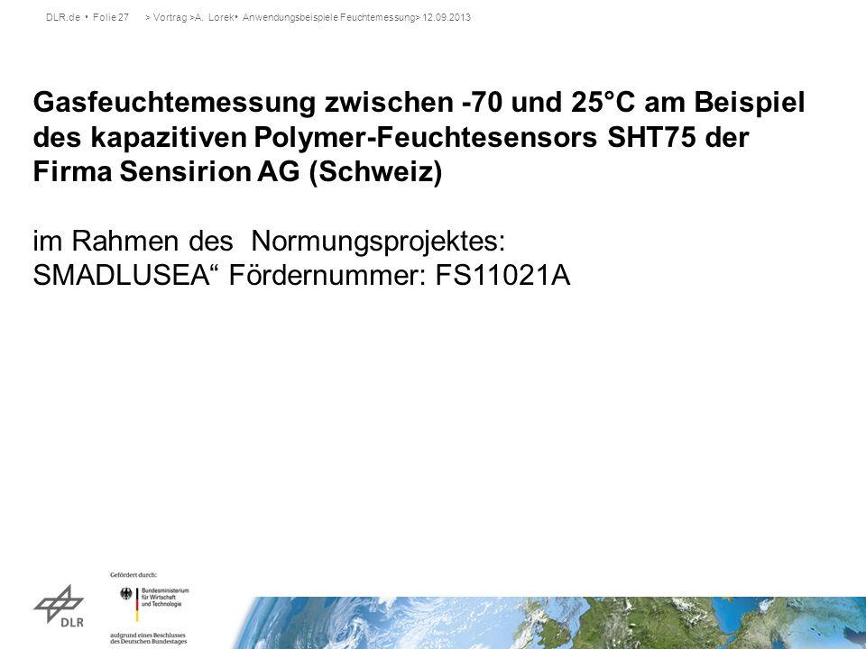 DLR.de Folie 27> Vortrag >A. Lorek Anwendungsbeispiele Feuchtemessung> 12.09.2013 Gasfeuchtemessung zwischen -70 und 25°C am Beispiel des kapazitiven