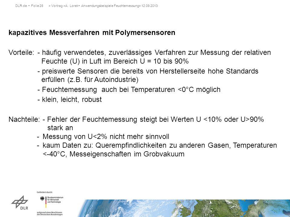 DLR.de Folie 28> Vortrag >A. Lorek Anwendungsbeispiele Feuchtemessung> 12.09.2013 kapazitives Messverfahren mit Polymersensoren Vorteile:- häufig verw