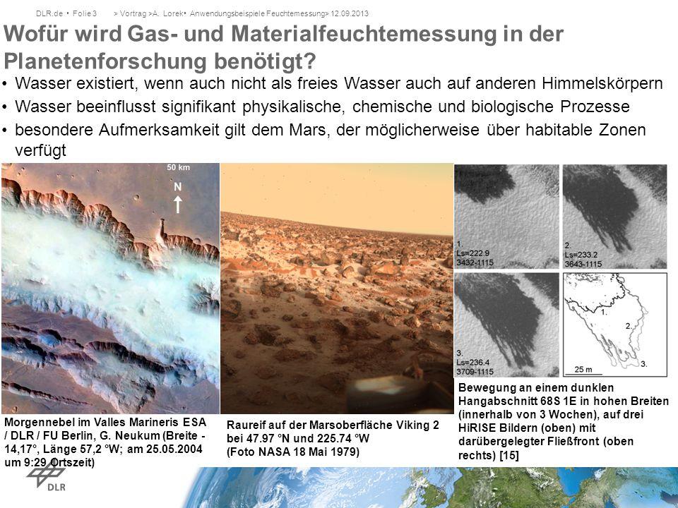 Wofür wird Gas- und Materialfeuchtemessung in der Planetenforschung benötigt? DLR.de Folie 3> Vortrag >A. Lorek Anwendungsbeispiele Feuchtemessung> 12