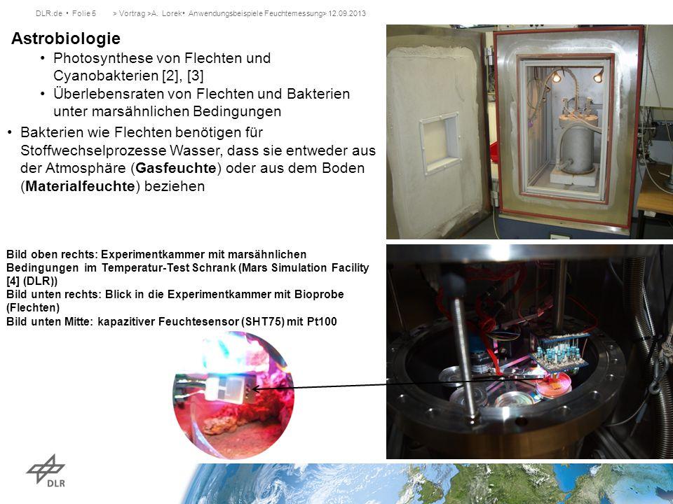 DLR.de Folie 5> Vortrag >A. Lorek Anwendungsbeispiele Feuchtemessung> 12.09.2013 Astrobiologie Photosynthese von Flechten und Cyanobakterien [2], [3]