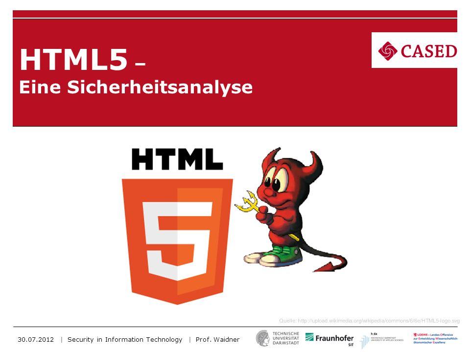 30.07.2012 | TU-Darmstadt | Security in Information Technology | Titel | 2 Gliederung 1.Neue sicherheitskritische Features von HTML5 2.Ein komplettes Angriffsszenario im Wirtschaftsbereich I.