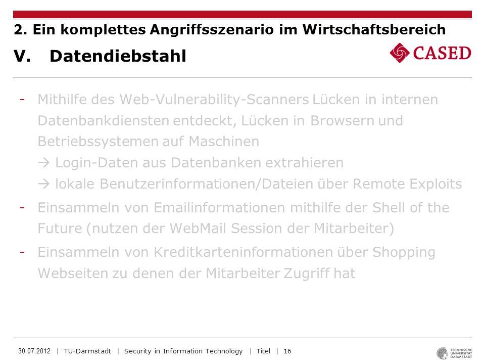 30.07.2012 | TU-Darmstadt | Security in Information Technology | Titel | 16 -Mithilfe des Web-Vulnerability-Scanners Lücken in internen Datenbankdiens