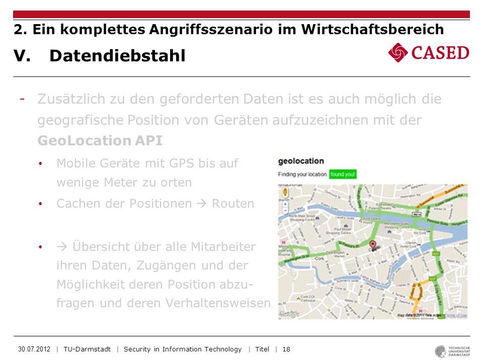 30.07.2012 | TU-Darmstadt | Security in Information Technology | Titel | 18 -Zusätzlich zu den geforderten Daten ist es auch möglich die geografische
