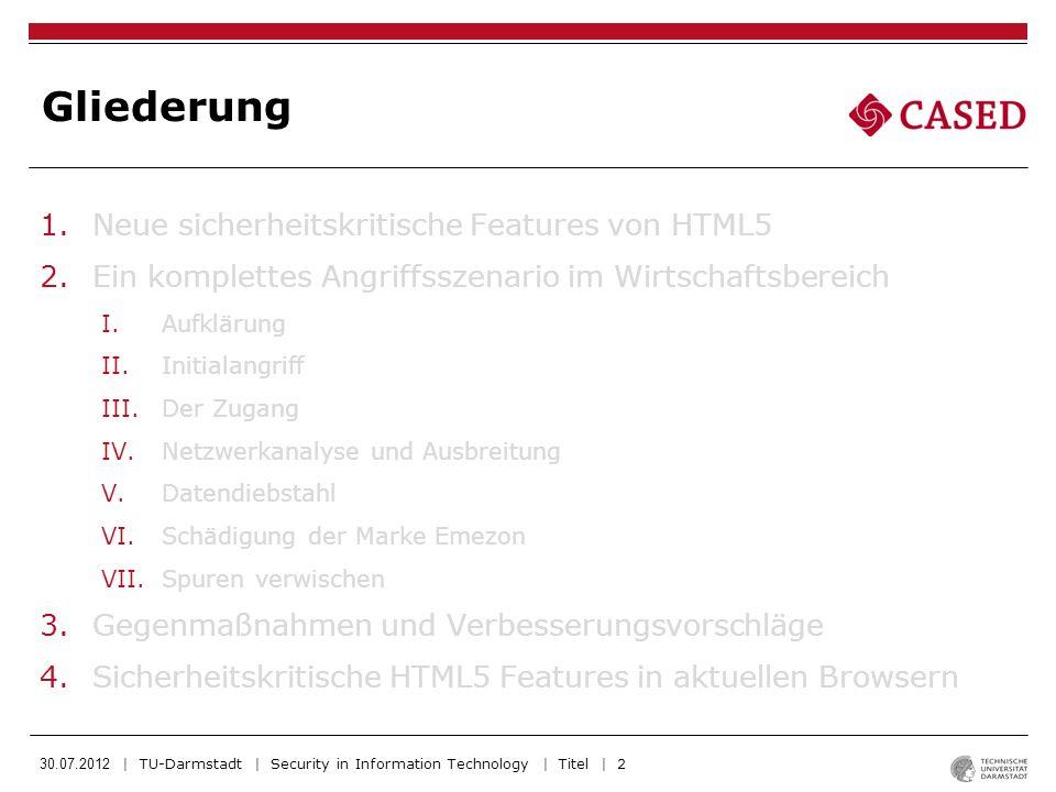 30.07.2012 | TU-Darmstadt | Security in Information Technology | Titel | 13 -Netzwerkanalyse ergab: -jeder Mitarbeiter hat als Standard-Homepage die Intranetwebseite von Emezon -Diese enthält WebSQL Injection Lücke mit einer entführten Session: Installation des XSS-Angreiferscripts auf Intranet-Homepage Infizierung aller weiteren Mitarbeiter (auch auf Handys) IV.