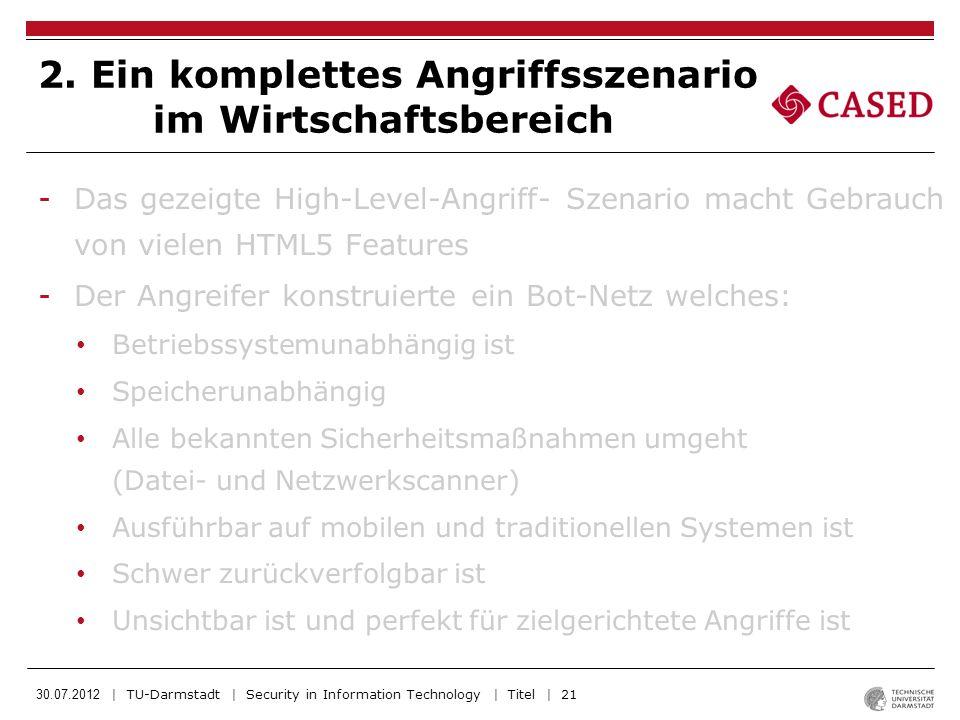30.07.2012 | TU-Darmstadt | Security in Information Technology | Titel | 21 -Das gezeigte High-Level-Angriff- Szenario macht Gebrauch von vielen HTML5