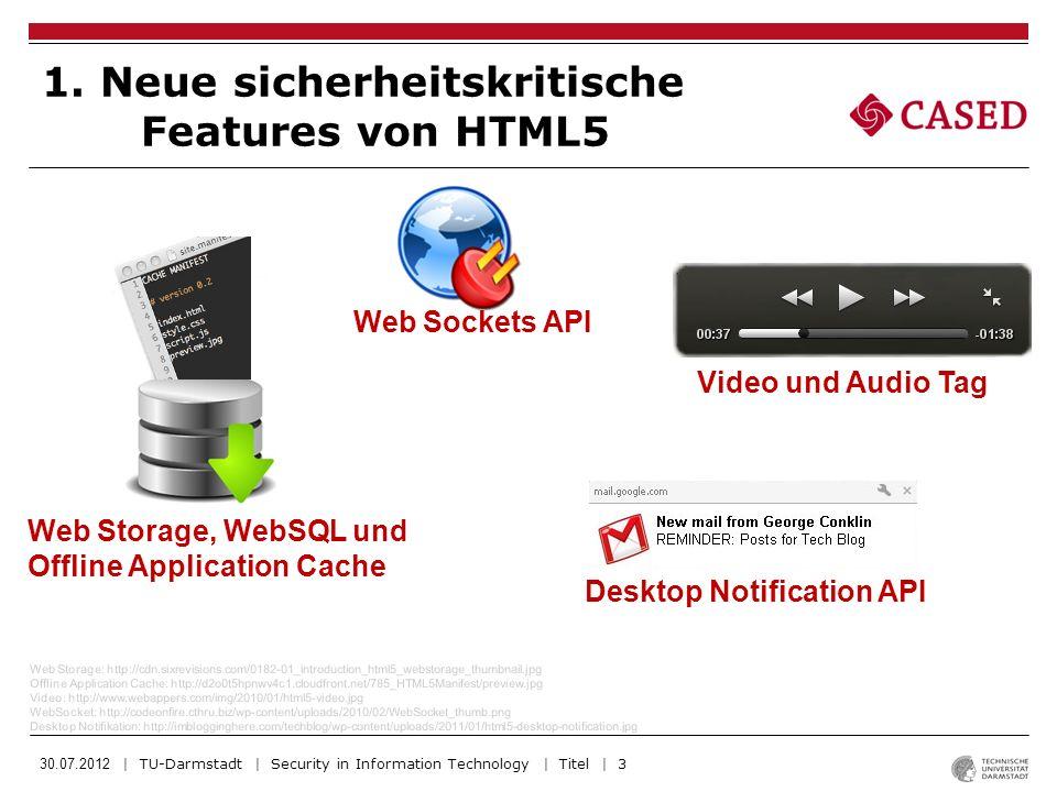 30.07.2012 | TU-Darmstadt | Security in Information Technology | Titel | 4 Canvas: http://www.strchr.com/media/HTML5_canvas_game2.jpg Sandkasten: http://bilder.hagebau.de/pool/formatz/4183971.jpg Geolocation: http://d339vfjsz5zott.cloudfront.net/7_HTML5Geolocation/HTML5Geolocation_Prevew2.jpg DragnDrop: http://cdn.learncomputer.com/wp-content/uploads/2012/01/JQuery-HTML5-Drag-and-Dro.png Canvas Tag Sandbox Iframe Attribut Geolocation API DragnDrop API Erweiterung 1.