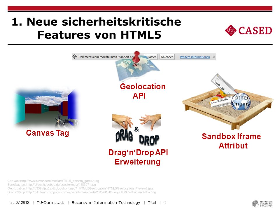 30.07.2012 | TU-Darmstadt | Security in Information Technology | Titel | 5 Web Messaging und CORS Web Messaging: http://www.ioexception.de/wp-content/uploads/2011/08/html5slides.png Web Worker: http://img.mister-wong.de/big/w/de-WebWorker.jpg Formular: http://www.urbandigital.de/img/blog/iphone-keyboard.jpg SpeechInput: http://drupal.org/files/images/speech_recognition_drupal.pnp Web Worker Neue Formular- elemente und Attribute Speech Input API 1.