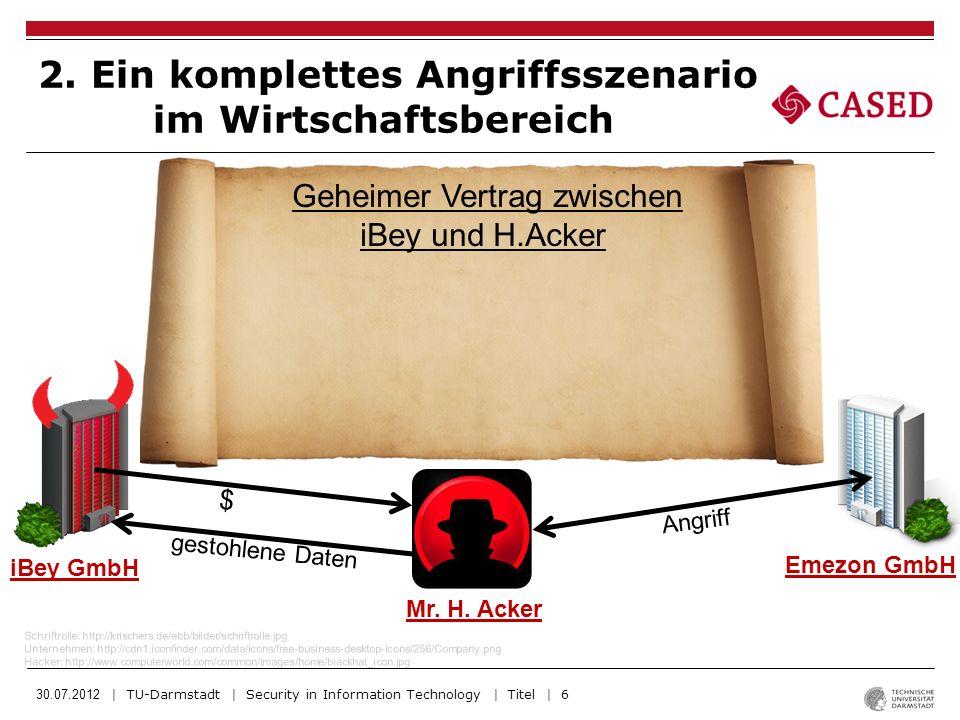 30.07.2012 | TU-Darmstadt | Security in Information Technology | Titel | 6 2. Ein komplettes Angriffsszenario im Wirtschaftsbereich Schriftrolle: http