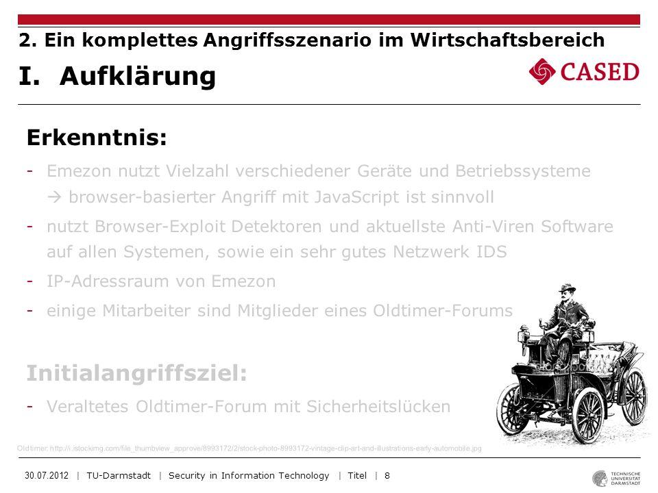 30.07.2012 | TU-Darmstadt | Security in Information Technology | Titel | 9 -Oldtimer-Forum enthält XSS-Schwachstelle in der Suche -Neue HTML5 Tags und Attribute noch nicht in Blacklist.