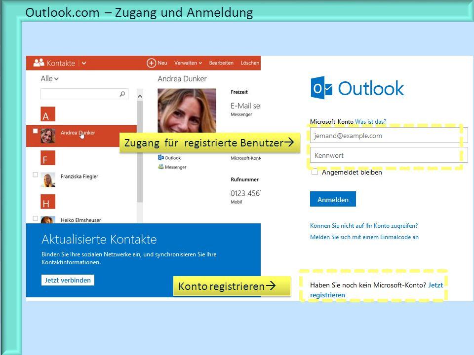 Outlook.com – Zugang und Anmeldung Zugang für registrierte Benutzer Konto registrieren