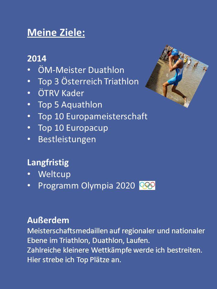 Meine Ziele: 2014 ÖM-Meister Duathlon Top 3 Österreich Triathlon ÖTRV Kader Top 5 Aquathlon Top 10 Europameisterschaft Top 10 Europacup Bestleistungen