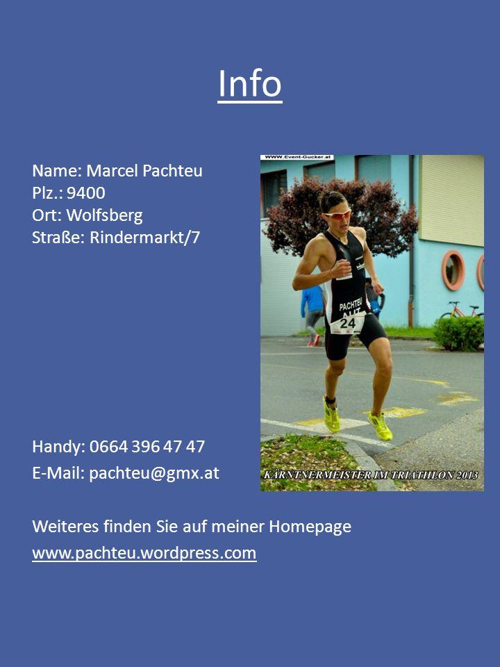 Info Name: Marcel Pachteu Plz.: 9400 Ort: Wolfsberg Straße: Rindermarkt/7 Handy: 0664 396 47 47 E-Mail: pachteu@gmx.at Weiteres finden Sie auf meiner