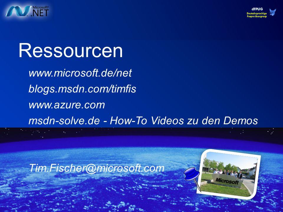 Ressourcen www.microsoft.de/net blogs.msdn.com/timfis www.azure.com msdn-solve.de - How-To Videos zu den Demos Tim.Fischer@microsoft.com