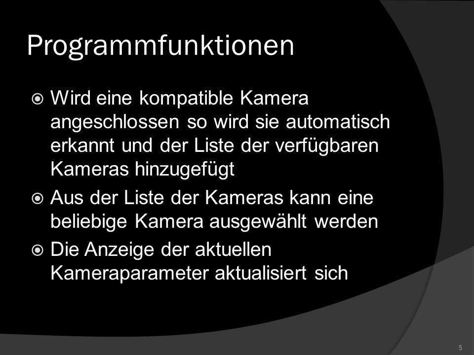 Projektziel Canon EOS Remote soll dem Nutzer eine grafische Oberfläche zur Verfügung stellen, mit der er angeschlossene Spiegelreflexkameras der Canon EOS D Serie steuern kann.