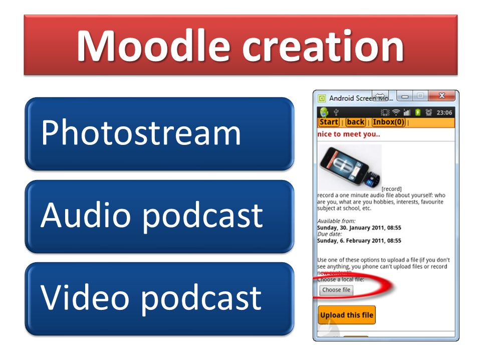 Moodle creation PhotostreamAudio podcastVideo podcast