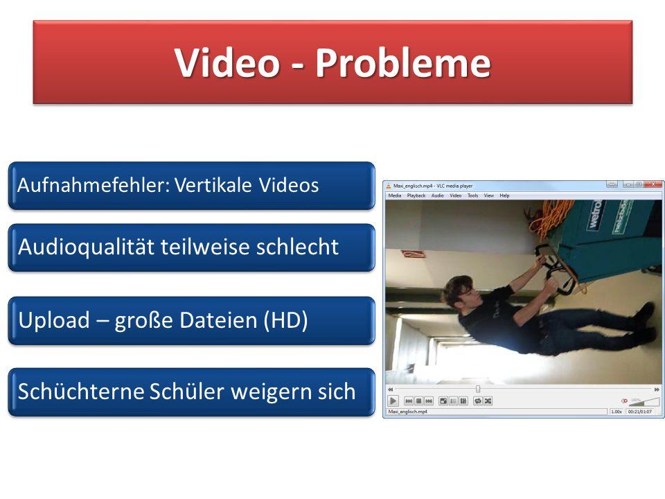 Video - Probleme Aufnahmefehler: Vertikale Videos Audioqualität teilweise schlechtUpload – große Dateien (HD)Schüchterne Schüler weigern sich