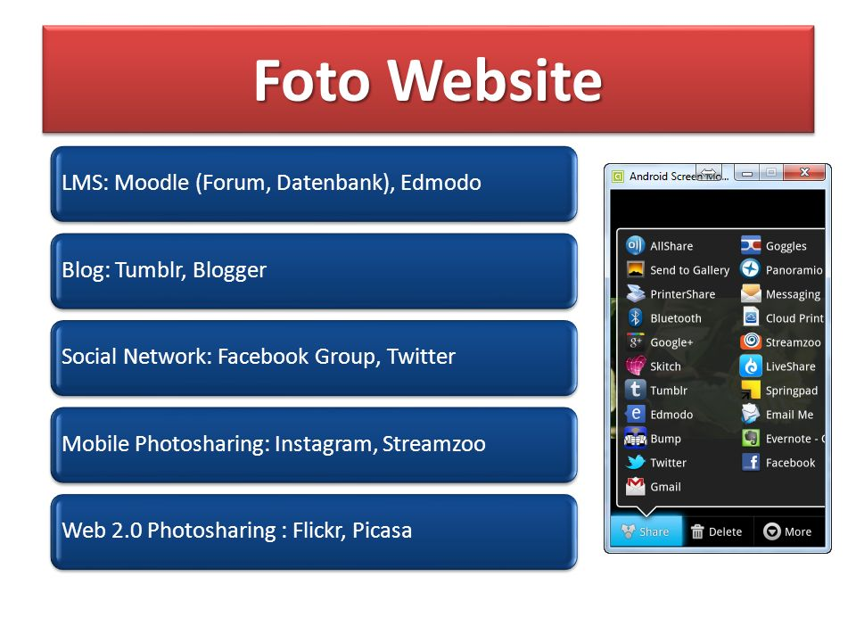 Foto Website LMS: Moodle (Forum, Datenbank), EdmodoBlog: Tumblr, BloggerSocial Network: Facebook Group, TwitterMobile Photosharing: Instagram, StreamzooWeb 2.0 Photosharing : Flickr, Picasa