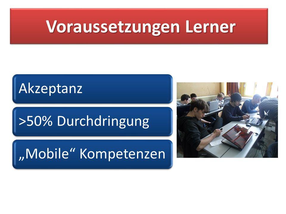 Voraussetzungen Lerner Voraussetzungen Lerner Akzeptanz>50% DurchdringungMobile Kompetenzen
