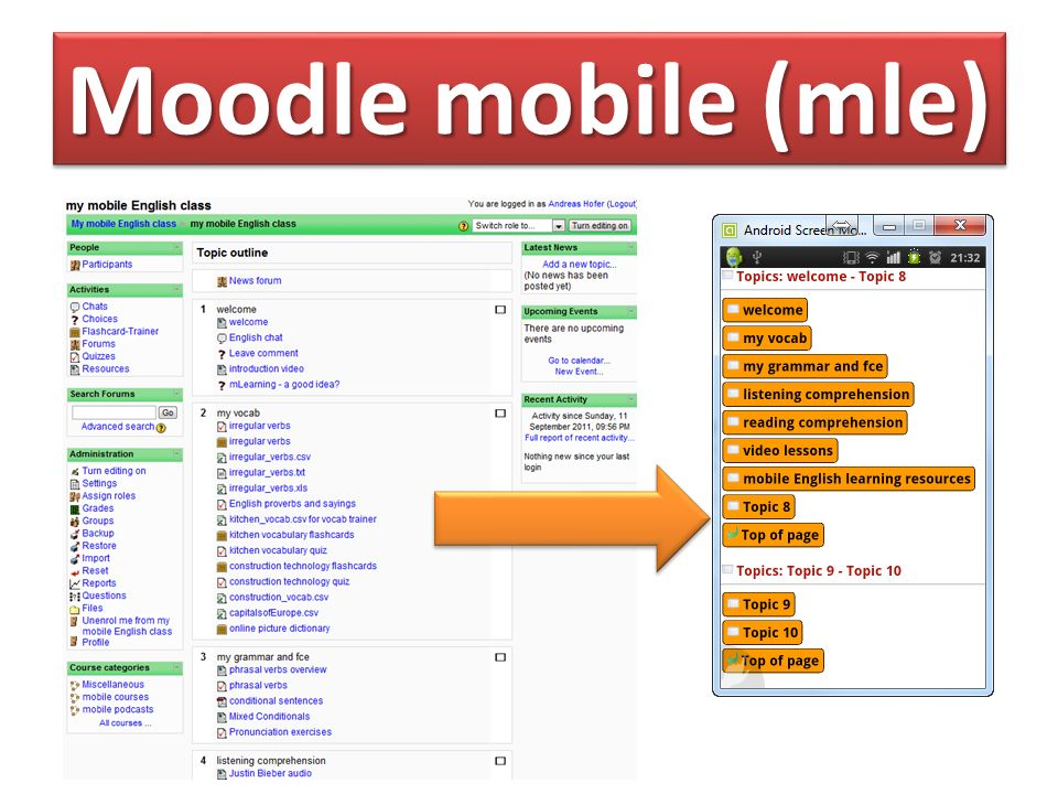 Moodle content Reading comp.& multiple choiceListening comp.