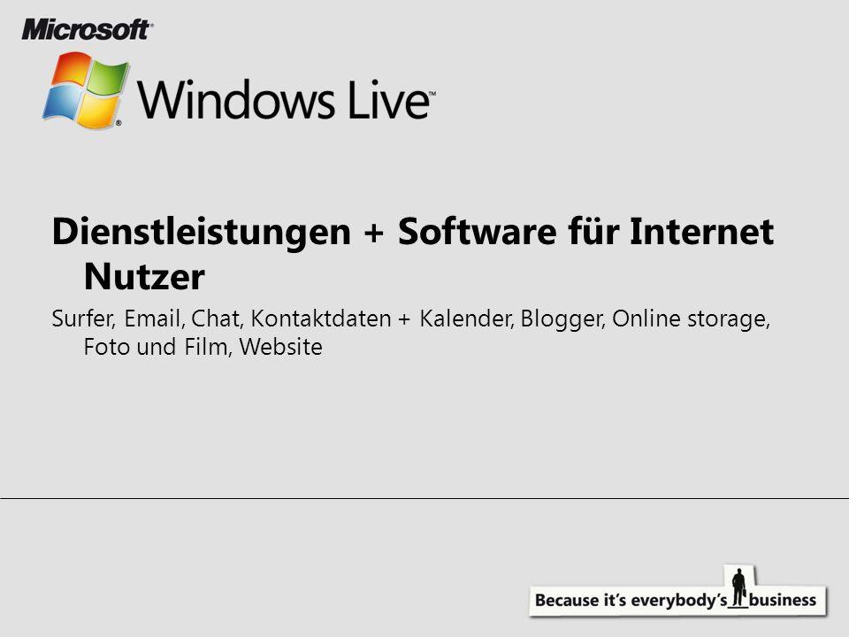 Dienstleistungen + Software für Internet Nutzer: Surfer, Email, Chat, Kontaktdaten + Kalender, Blogger, Online storage, Foto und Film, Website