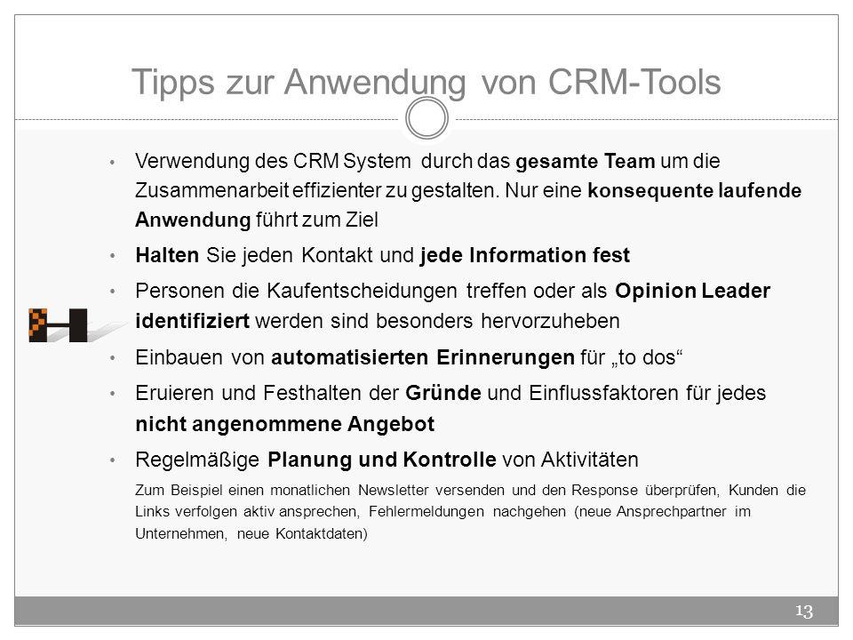 Tipps zur Anwendung von CRM-Tools Verwendung des CRM System durch das gesamte Team um die Zusammenarbeit effizienter zu gestalten. Nur eine konsequent