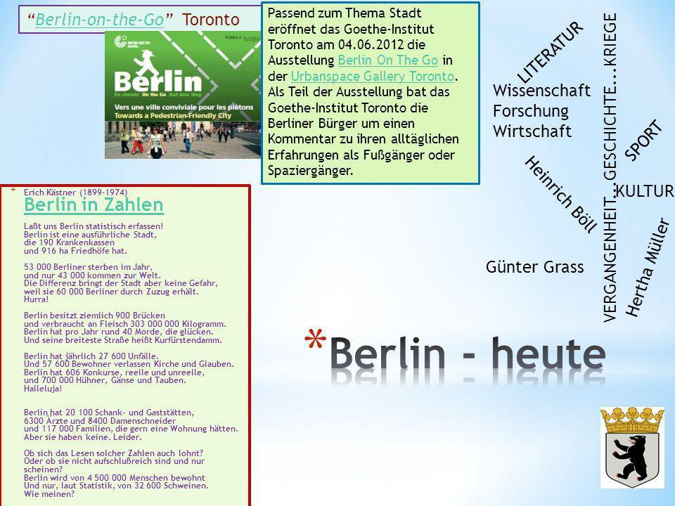* Erich Kästner (1899-1974) Berlin in Zahlen Laßt uns Berlin statistisch erfassen! Berlin ist eine ausführliche Stadt, die 190 Krankenkassen und 916 h