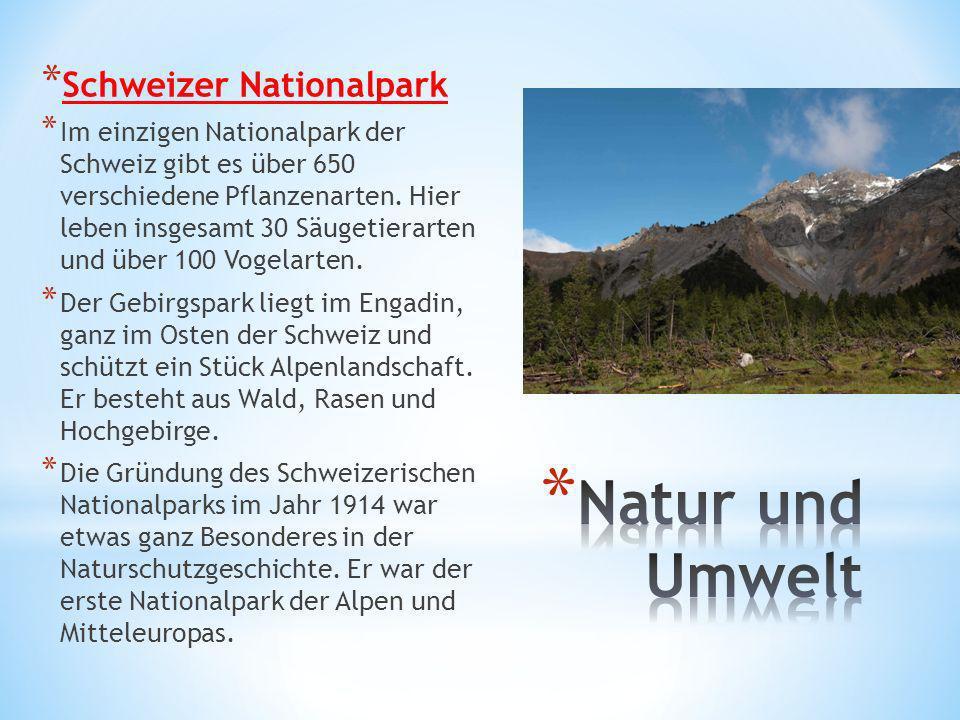 * Schweizer Nationalpark * Im einzigen Nationalpark der Schweiz gibt es über 650 verschiedene Pflanzenarten. Hier leben insgesamt 30 Säugetierarten un