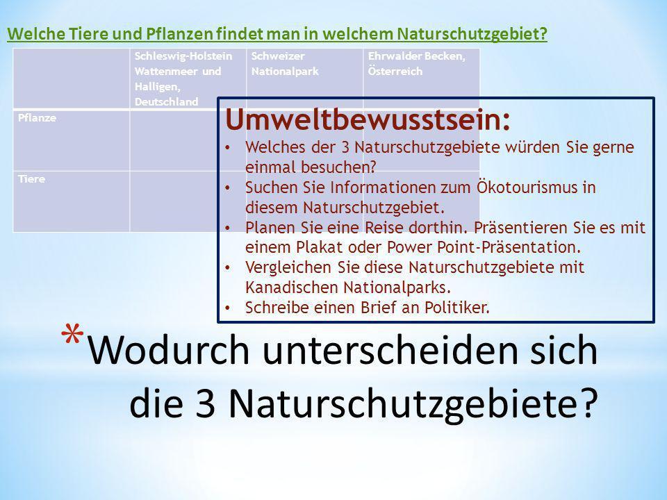 * Wodurch unterscheiden sich die 3 Naturschutzgebiete? Schleswig-Holstein Wattenmeer und Halligen, Deutschland Schweizer Nationalpark Ehrwalder Becken
