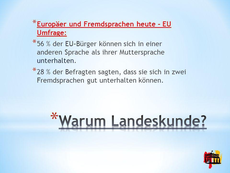 * Europäer und Fremdsprachen heute – EU Umfrage: * 56 % der EU-Bürger können sich in einer anderen Sprache als ihrer Muttersprache unterhalten. * 28 %