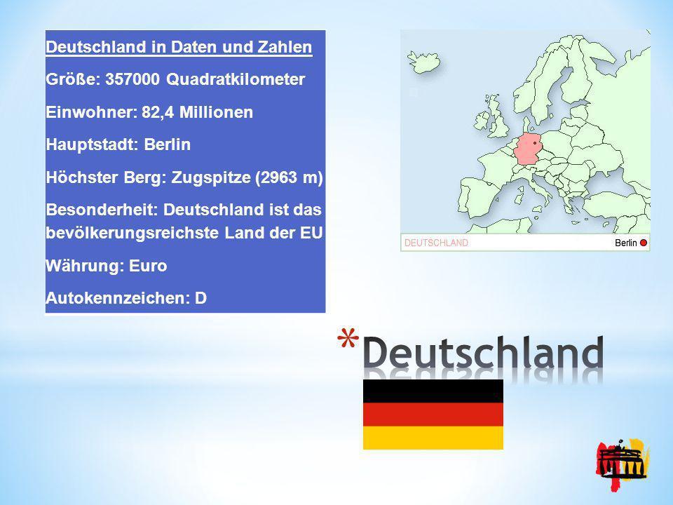Deutschland in Daten und Zahlen Größe: 357000 Quadratkilometer Einwohner: 82,4 Millionen Hauptstadt: Berlin Höchster Berg: Zugspitze (2963 m) Besonder