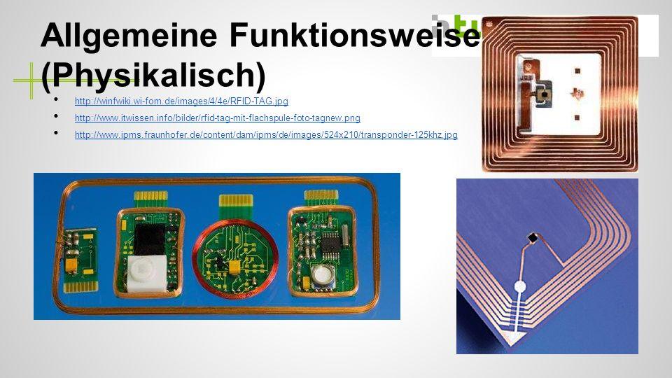 Allgemeine Funktionsweise (Physikalisch) http://winfwiki.wi-fom.de/images/4/4e/RFID-TAG.jpg http://www.itwissen.info/bilder/rfid-tag-mit-flachspule-foto-tagnew.png http://www.ipms.fraunhofer.de/content/dam/ipms/de/images/524x210/transponder-125khz.jpg