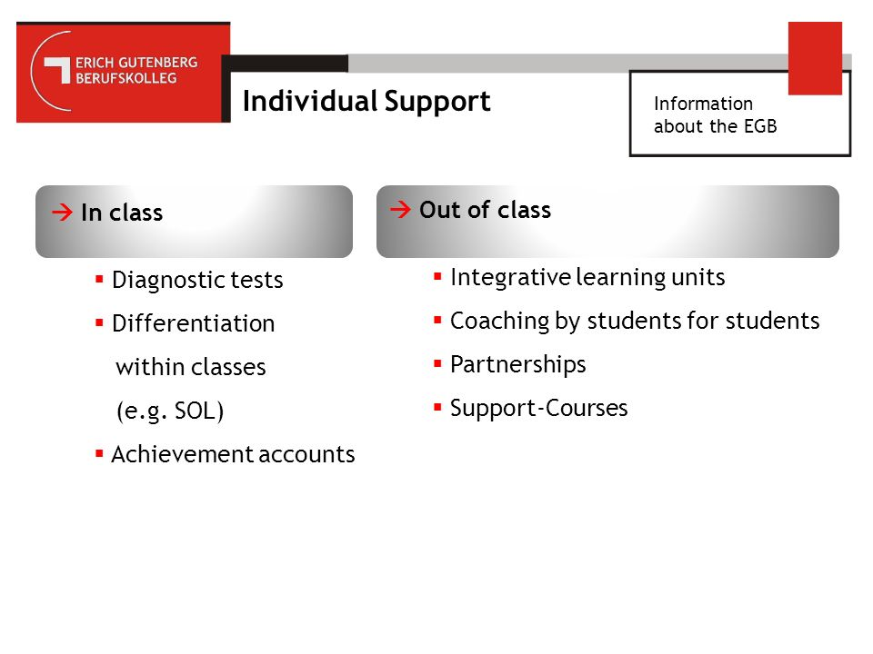 Information about the EGB Individual Support In class Diagnostic tests Differentiation within classes (e.g.