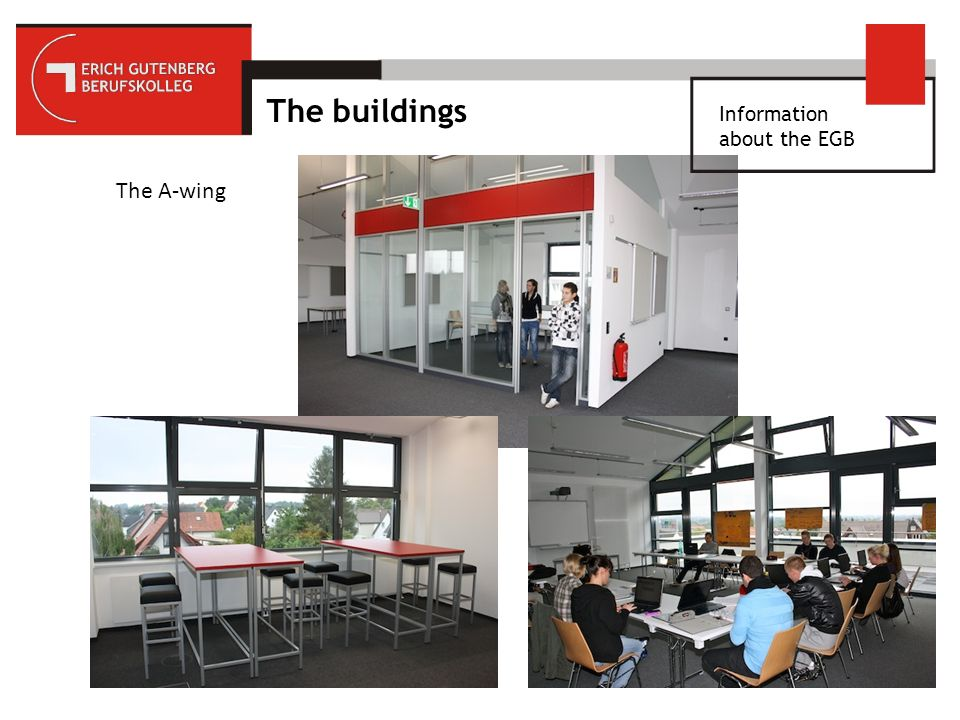 Information about the EGB Leonardo da Vinci 37 trainees per year (2010-2014), mainly from EGB 2011: 12 students will take part in the Business-Planning-Project in Chelmsford/England 10 individual work placements in the Netherlands, Denmark, France, GB, Spain, Turkey and Austria