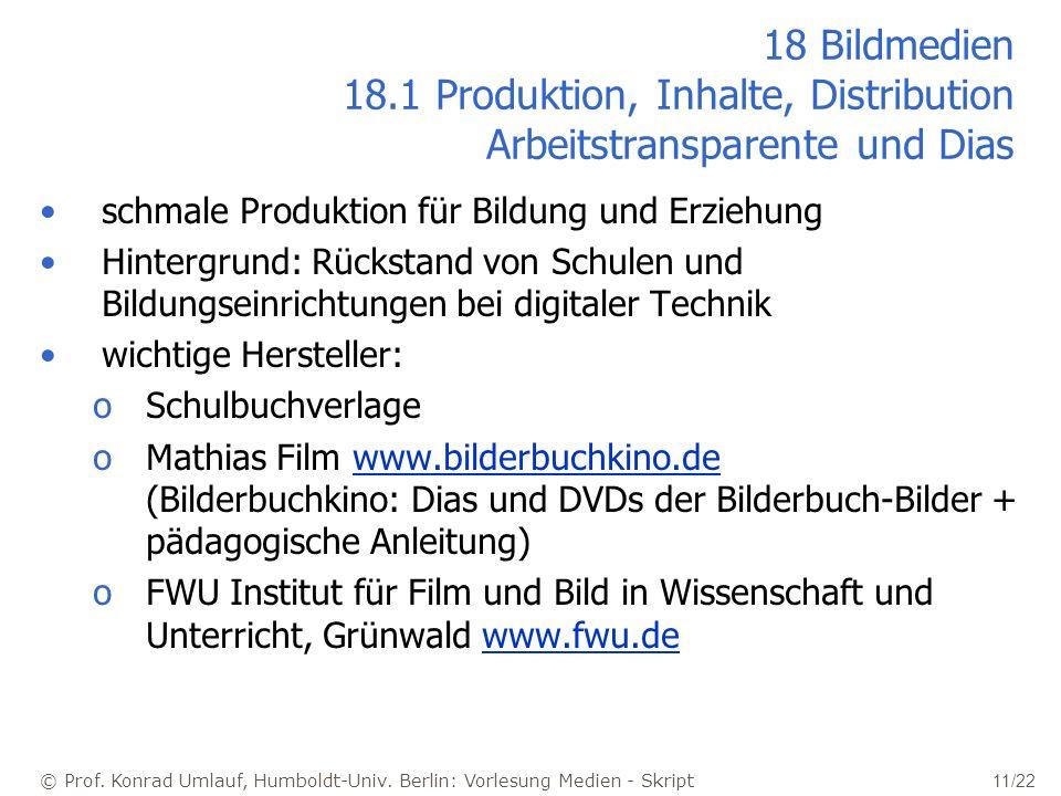 © Prof. Konrad Umlauf, Humboldt-Univ. Berlin: Vorlesung Medien - Skript 11/22 18 Bildmedien 18.1 Produktion, Inhalte, Distribution Arbeitstransparente