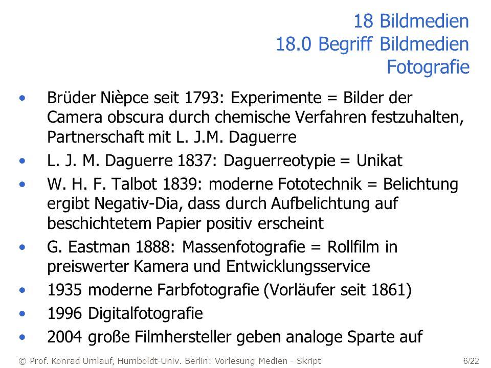 © Prof. Konrad Umlauf, Humboldt-Univ. Berlin: Vorlesung Medien - Skript 6/22 18 Bildmedien 18.0 Begriff Bildmedien Fotografie Brüder Nièpce seit 1793:
