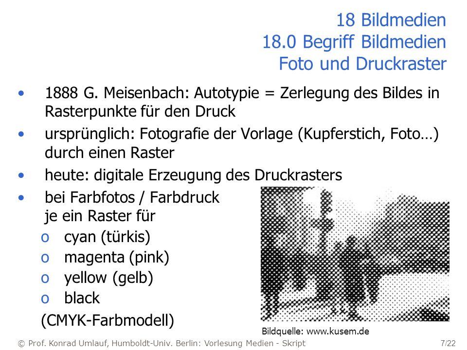 © Prof. Konrad Umlauf, Humboldt-Univ. Berlin: Vorlesung Medien - Skript 7/22 18 Bildmedien 18.0 Begriff Bildmedien Foto und Druckraster 1888 G. Meisen