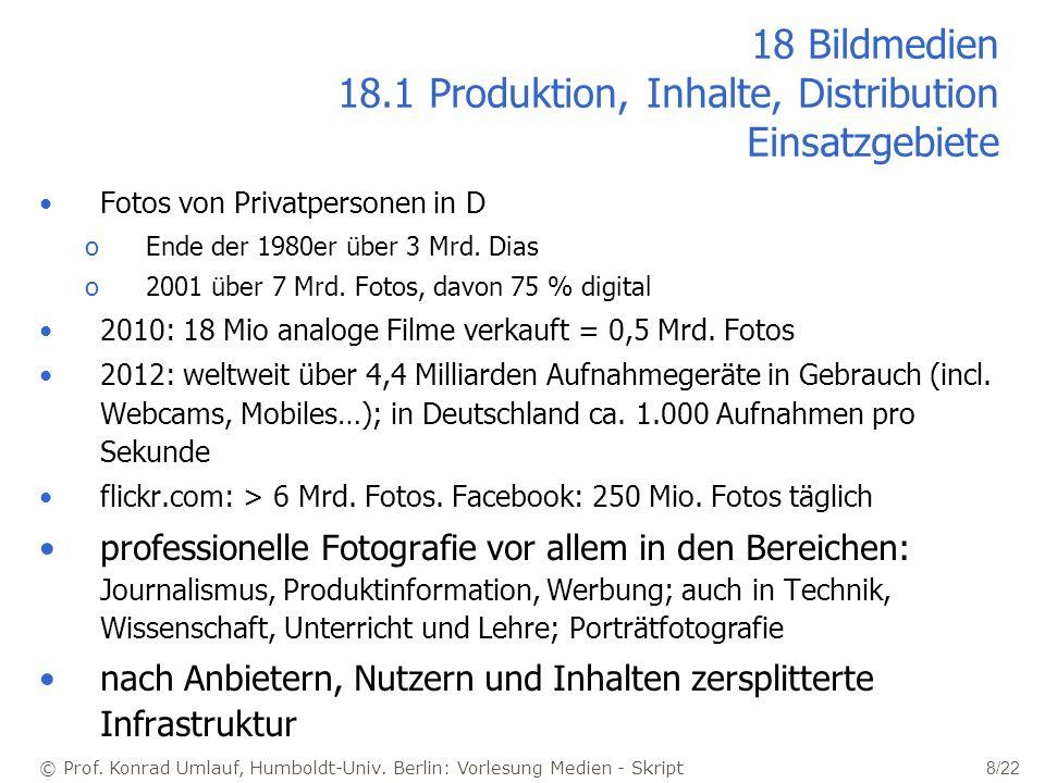 © Prof. Konrad Umlauf, Humboldt-Univ. Berlin: Vorlesung Medien - Skript 8/22 18 Bildmedien 18.1 Produktion, Inhalte, Distribution Einsatzgebiete Fotos