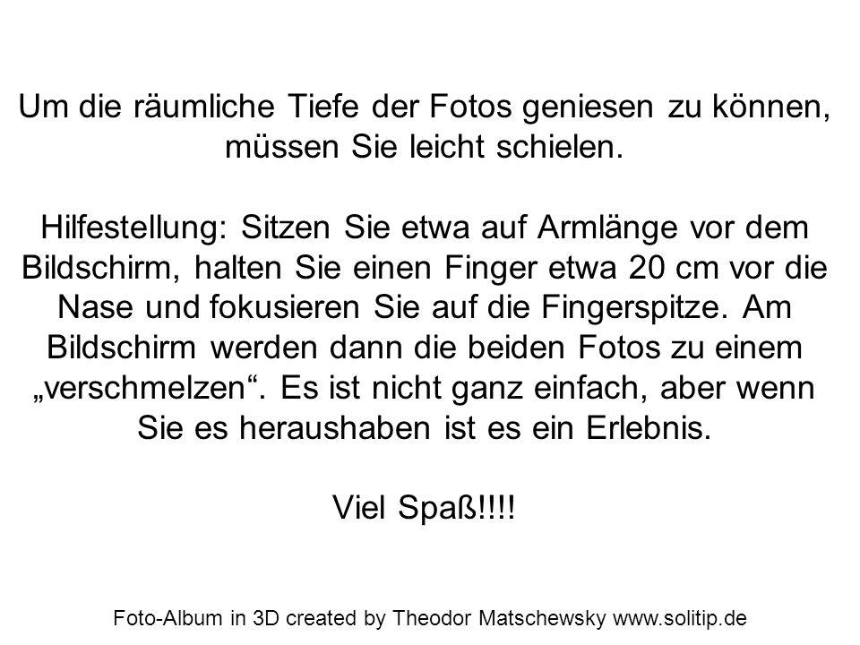 Foto-Album in 3D created by Theodor Matschewsky www.solitip.de Um die räumliche Tiefe der Fotos geniesen zu können, müssen Sie leicht schielen. Hilfes