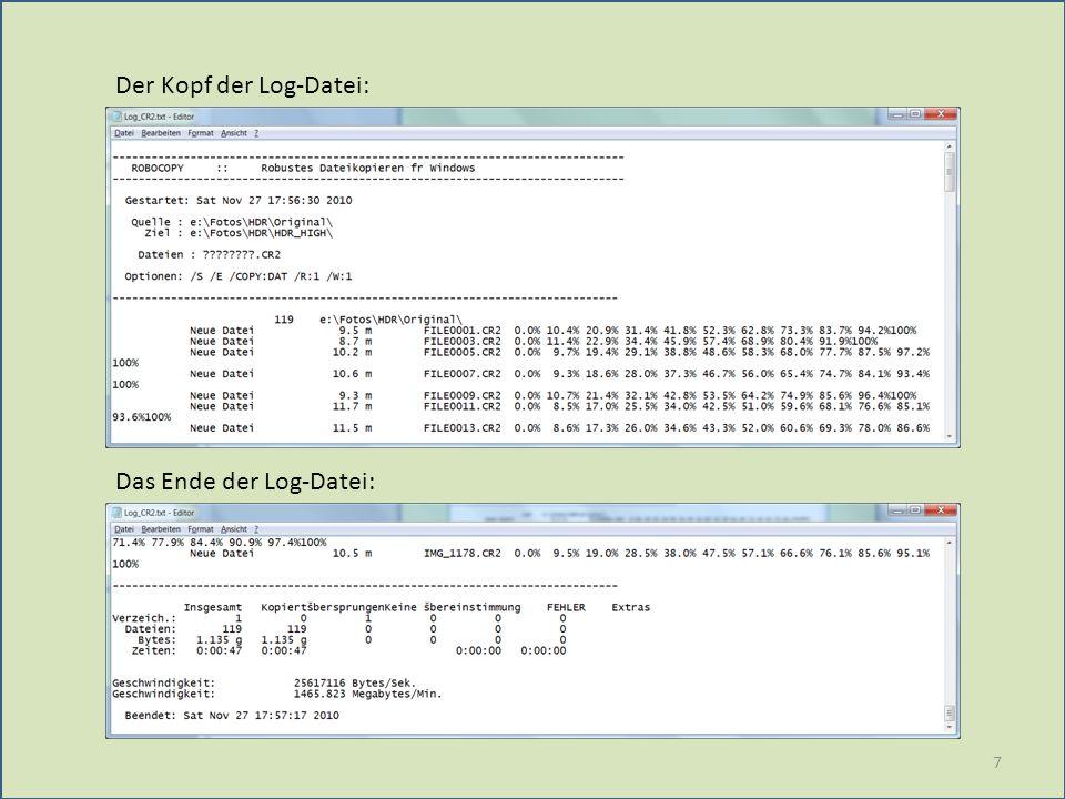 7 Der Kopf der Log-Datei: Das Ende der Log-Datei: