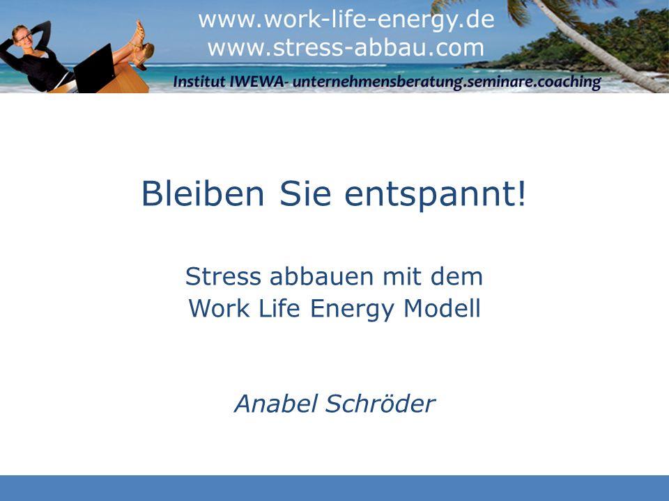 Agenda Foto: Fotolia Entstehung von Stress Work Life Energy Modell