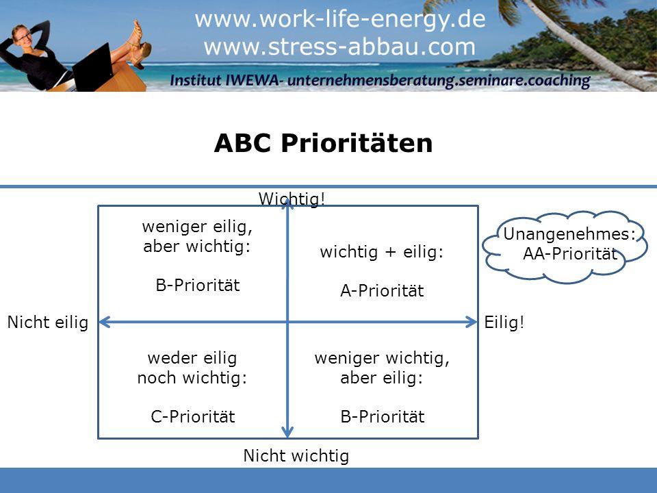 ABC Prioritäten wichtig + eilig: A-Priorität Eilig! Wichtig! weniger wichtig, aber eilig: B-Priorität weniger eilig, aber wichtig: B-Priorität weder e