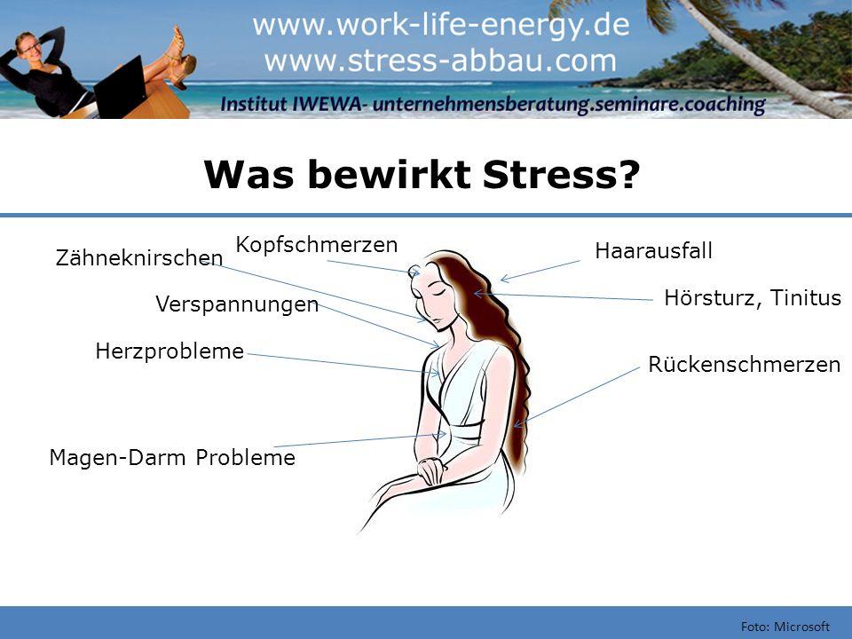 Was bewirkt Stress? Foto: Microsoft Kopfschmerzen Herzprobleme Magen-Darm Probleme Rückenschmerzen Hörsturz, Tinitus Haarausfall Verspannungen Zähnekn